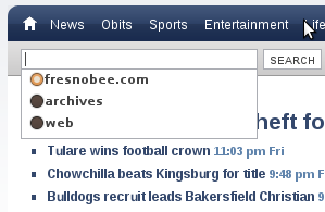fresnobee.com home page search engine drop down