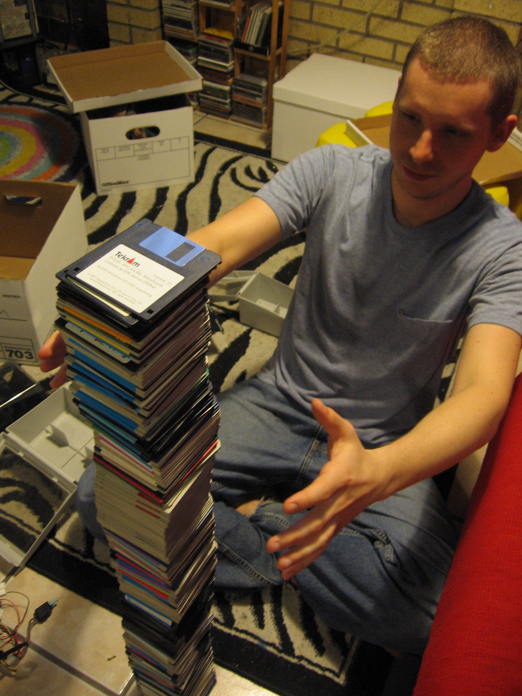 Balancing a tall stack of floppy disks