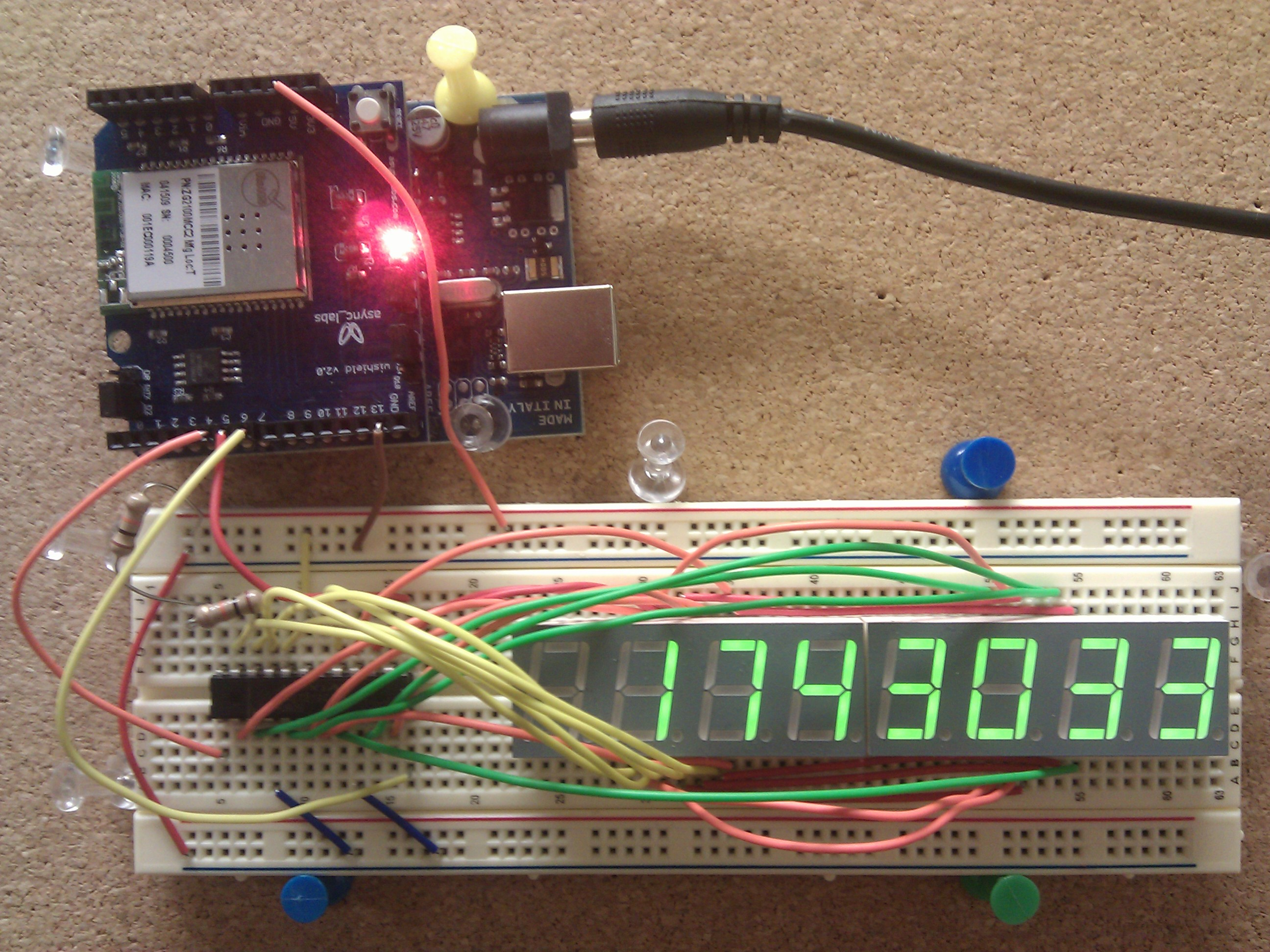 Ardiuno WiFi 8 digit counter on a bread board
